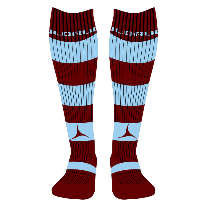 Lampeter RFC Hooped Socks Burgundy/Sky