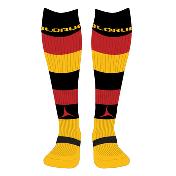Carmarthen Quins RFC Hooped Socks Black/Red/Amber