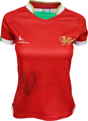 Women's Olorun Wales Contour Home Nations Rugby Shirt (Home - Red Design)