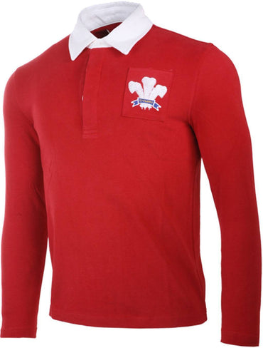 Olorun Retro Mens Wales Long Sleeve Rugby Shirt (Fast Delivery)