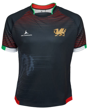 Olorun Contour Wales Home Nations Rugby Shirt ( Away Design - Black )
