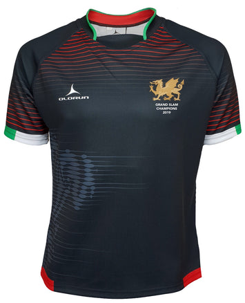 Olorun Contour Wales Grand Slam 2019 Rugby Shirt ( Away Design - Black )