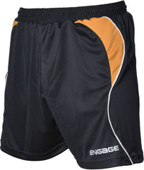 Engage Premium Kids' Football Shorts Black/Amber/White (Fast Delivery)