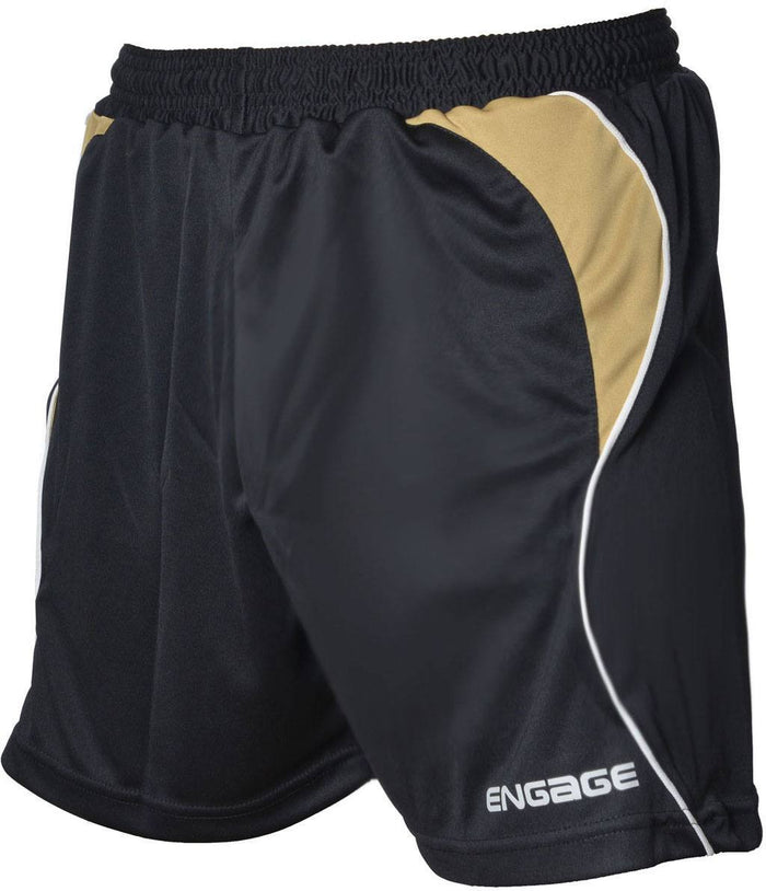 Engage Premium Football Shorts Black/Bronze/White (Fast Delivery)