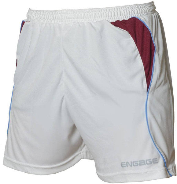 Engage Premium Kids' Football Shorts White/Claret/Sky (Fast Delivery)