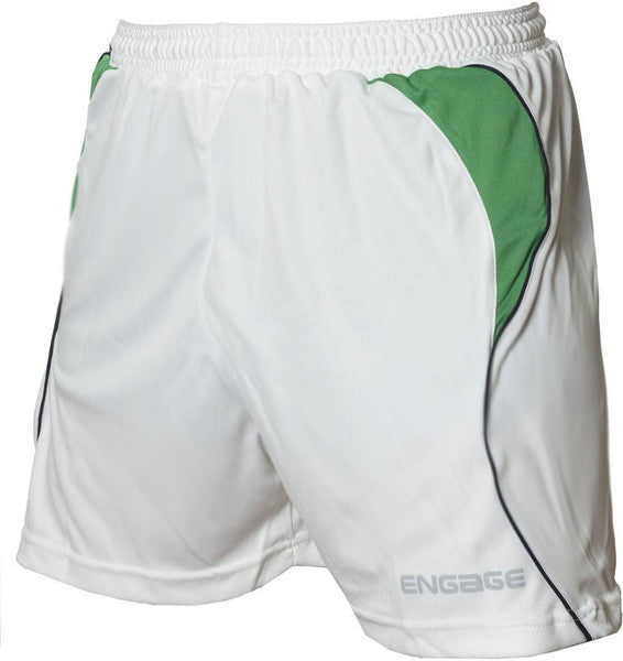 Engage Premium Kids' Football Shorts White/Emerald/Black (Fast Delivery)