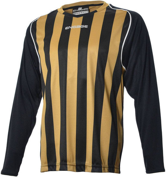 Engage Pro-Stripe Kids' Football Shirt  Black/Bronze/White  (Fast Delivery)
