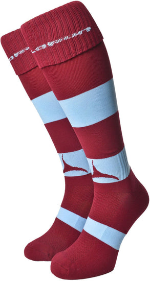 Olorun Hooped Socks Burgundy/Sky (Fast Delivery)