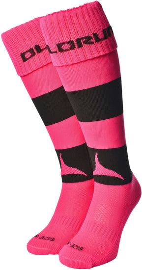 Olorun Hooped Socks Hot Pink/Black (Fast Delivery)