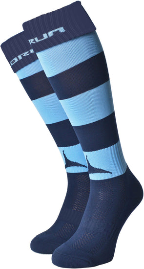 Narberth RFC Hooped Socks Navy/Sky