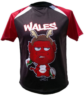 Olorun Men's Mini Dragon Wales Rugby Shirt Halfpenny (Fast Delivery)