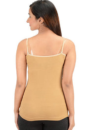Beige Colored Black Wording Spaghetti Strap Camisole - Meet Desires