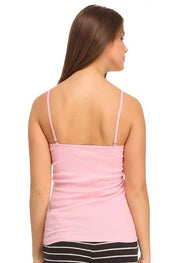 Baby Pink Cute Printed Square Neckline Cami Tank Top - Meet Desires