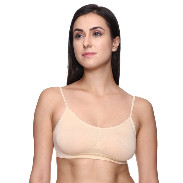 """Comfort"" Beige Thin Straps Sports Bra - Meet Desires"