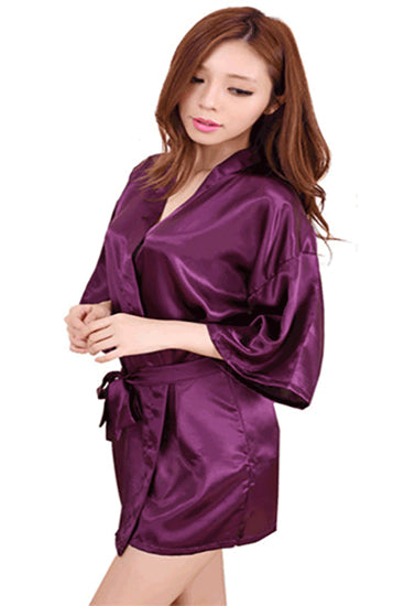 Calida Crepe Purple Robe With Free Thong Panty - Meet Desires