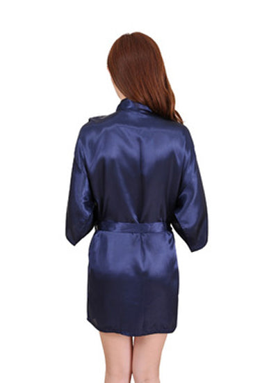 Calida Navy Blue Short Style Robe With Free Thong - Meet Desires