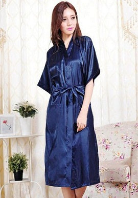 Crepe Royal Blue Robe With Free Thong Panty - Meet Desires