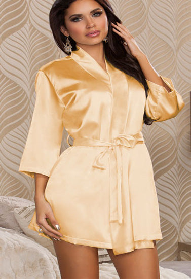 Calida Hot Beige Crepe Robe With Free Thong Panty - Meet Desires
