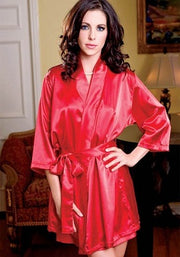 Calida Hot Red Crepe Robe With Free Thong Panty - Meet Desires