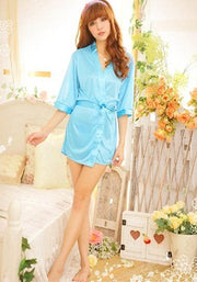 Calida Pure Crepe Sky Blue Robe With Free Thong Panty - Meet Desires