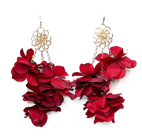 Peri Red Multi-Floral Earrings