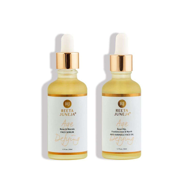 Face Duo: Rose & Marula Face Serum and Rose Hip, Frankincense & Myrrh Anti-Wrinkle Face Oil