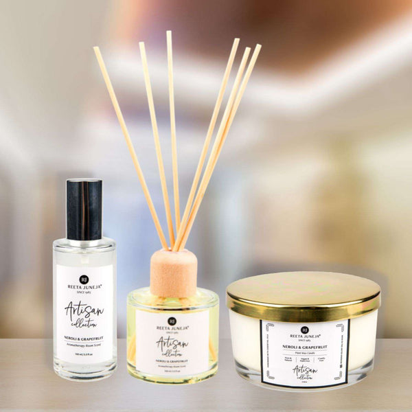 Aromatic Home: Neroli & Grapefruit Luxury Home Candle, Aromatherapy Reeds and Room Spray
