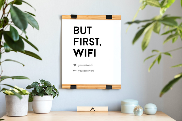 "Bold & Condensed ""But First, WiFi"" Poster"