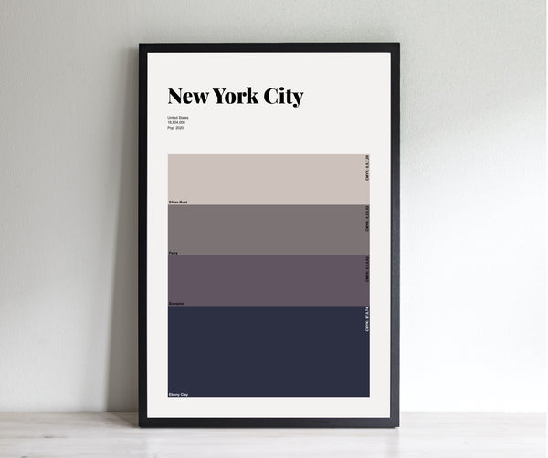 New York At Night // Minimalist Art Print // New York City Color Swatch
