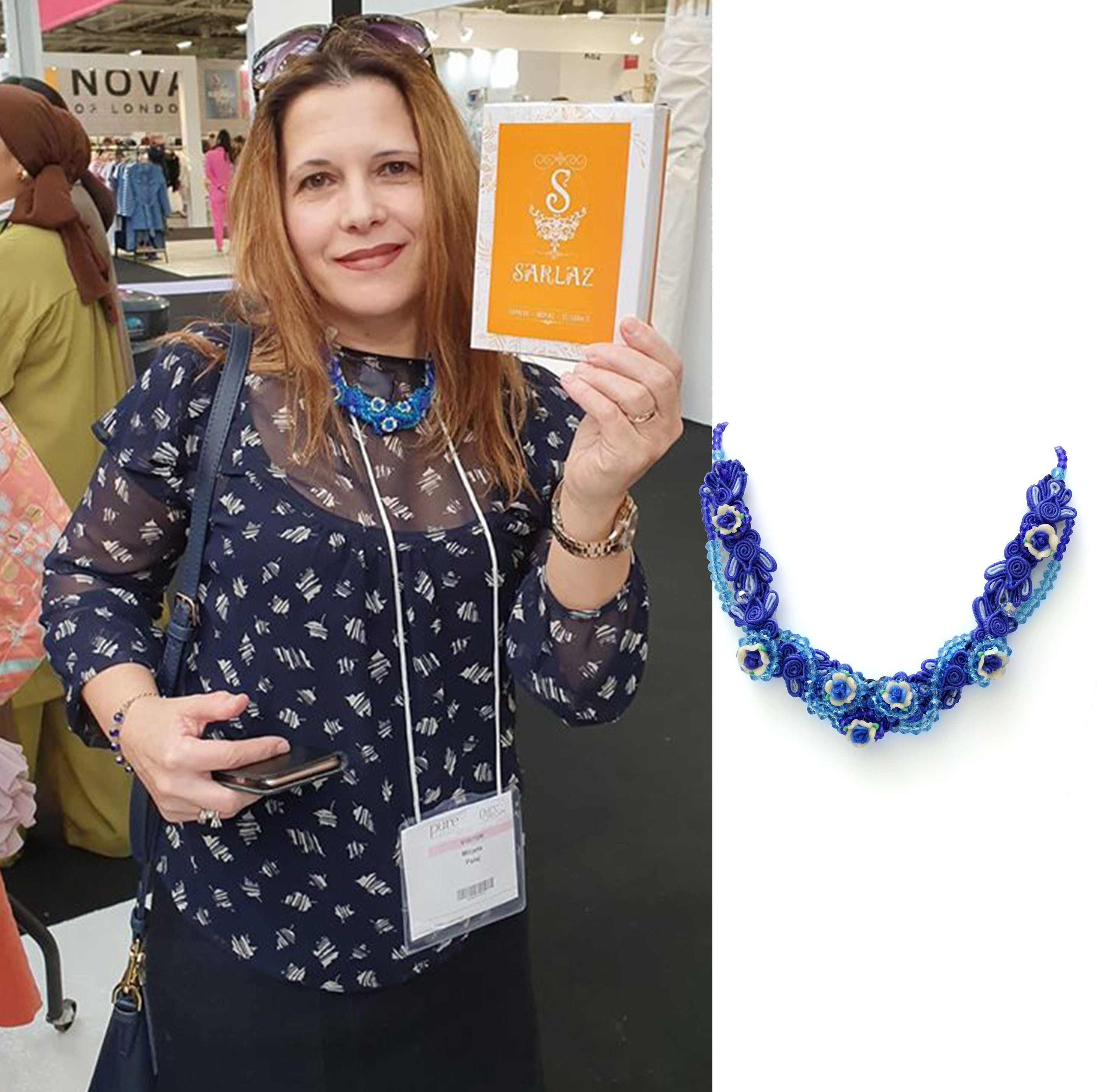 Blue flower necklace by Sarlaz