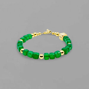Green Onyx and Gold Bracelet