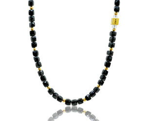 Cubed Black Spinel and Gold Necklace