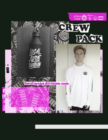 1. Crew Pack #3 - L/S Tee + Water Bottle + 2 Patches + Sticker pack