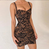 Ruched Leopard Print Mini Women Dress