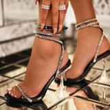 Transparent Wine Glass Heel Slipper Rhinestone Bandage Sandals