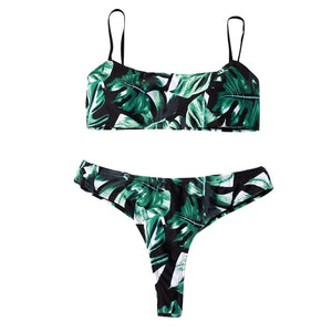 Swimsuit Women Leaves Print Bikinis