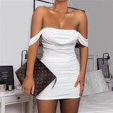 Sexy Off Shoulder Strapless Pleated Stacked Mini Dress