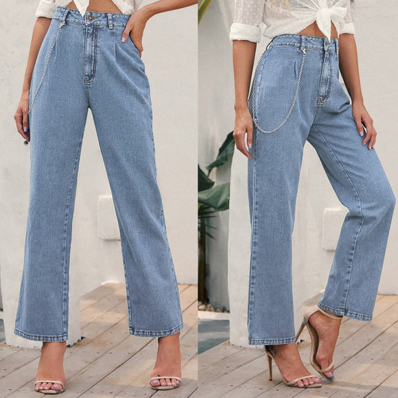 Women Jeans High-Waisted Blue Denim