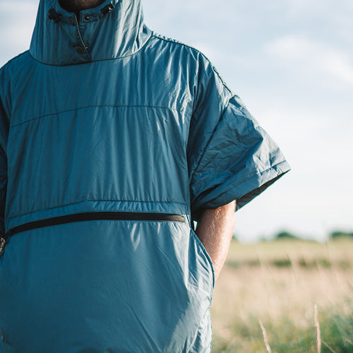 OUTDOOR PONCHO FOR SURFING, CAMPING, VANLIFE & EXTREME SIGHT-SEEING MARSH GREY