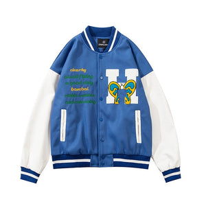 Open image in slideshow, Butterfly Embroidery Varsity Jacket