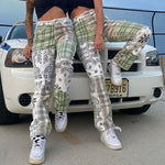 Patchwork Checkered Jeans