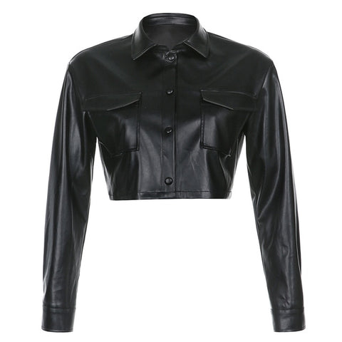 Faux Leather Cropped Jacket