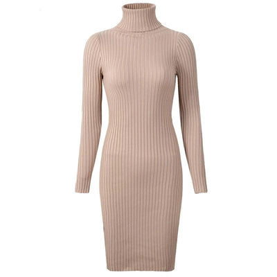 2019 Womens Winter Knitted Sheath Turtle Neck Dresses Long Sleeve Bodycon Solid Basic Sexy Mini Dresses Vestidos D1801