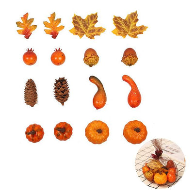 Hot Sale Artificial Pumpkins with Fake Maple Leaves for Halloween Thanksgiving Festival Party Decoration