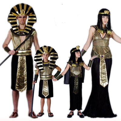 Family Adult Kids Egyptian Pharaoh Cleopatra Costume Cosplay for Women Men Boys Girls Halloween Party Fancy Dress