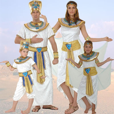 Adult Kids Egypt Nile Pharaoh Cleopatra Costume for Women Men Boys Girls Family Halloween New Year Party Fancy Dress