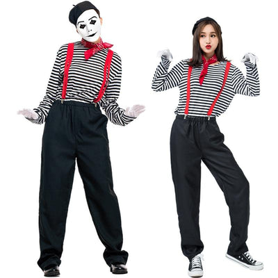 Unisex Mime Artist Costume for Women Men Black White Silent Actor Suit Outfit French Mimic Clown Costumes