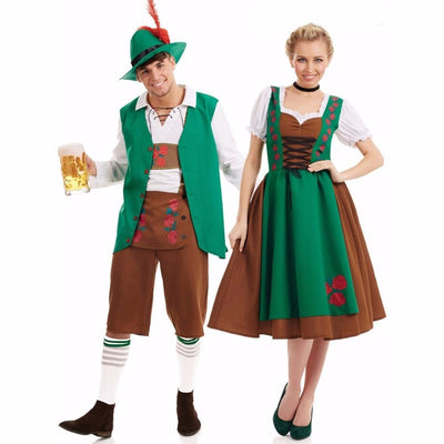Bavarian Oktoberfest Costume Men Women German Beer Maid Waiter Costumes Fantasia Cosplay Dress Outfit for Couple