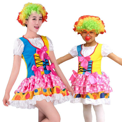 Halloween Carnival Party Costumes Mom and Girls Kids Circus Clown Costume Mother Daughter Family Matching Cosplay Bow Tie Dress