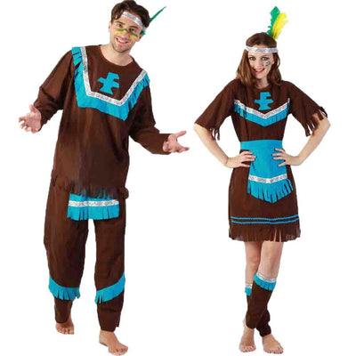 Adult Couple Indian Native Costume Women Men Indigenous Primitive Costumes Cosplay Fancy Halloween Party Dress Blue